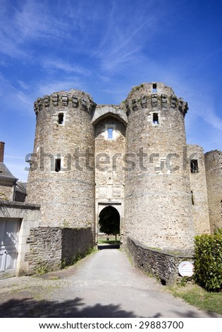 Twin tower entrance to Chateaubriant Chateau - stock photo