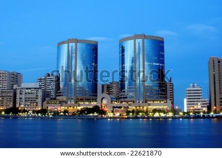 Twin towers, dubai creek, united arab emirates - stock photo