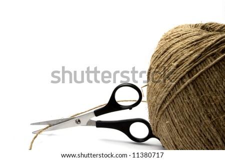 twine and scissors - stock photo