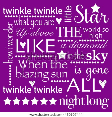 Twinkle Little Star Square Word Art Purple