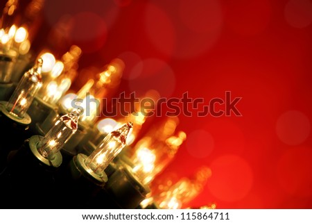 Twinkling Lights on Red