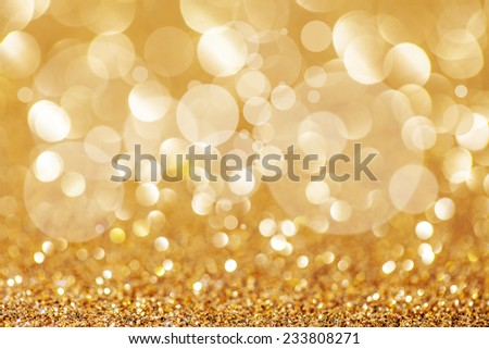 Twinkly golden Festive Abstract lights Christmas Background - stock photo