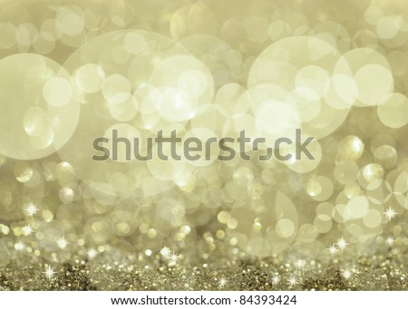 Twinkly Silver Lights and Stars Christmas Background - stock photo
