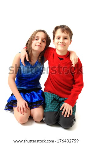 twins (brother and sister) - stock photo