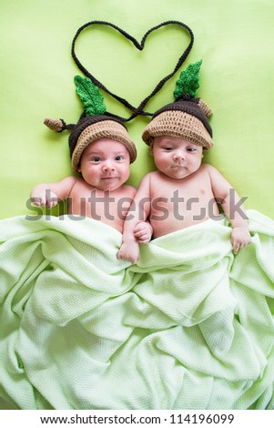 twins brothers babies wear acorn hats - stock photo