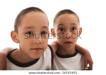 twins isolated on white - stock photo