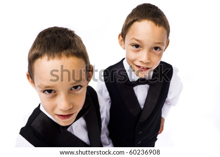 twins playing young gangsters isolated on white - stock photo
