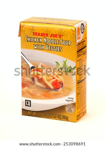 TWINSBURG, OH, USA - FEBRUARY 7, 2015: A package of Trader Joe's Chicken Noodle Soup with Veggies. Trader Joe's is headquartered in Monrovia, California, and has stores in over 39 states. - stock photo