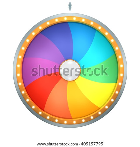 Twirl graphic with Wheel of fortune create by 3D illustration. This colorful graphic is isolated on white background