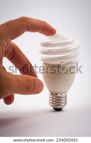 twist light bulb on white background
