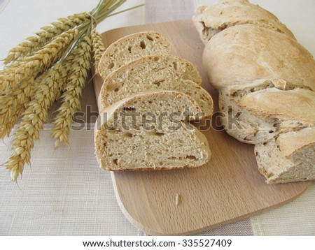 Twisted baguette bread - stock photo