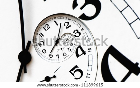 Twisted clock face with arrows. Time concept - stock photo