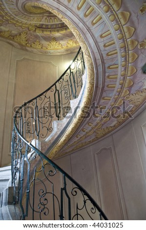 twisted ladder in abbey in Melk - stock photo