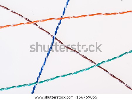 Twisted pair lines separated isolated - stock photo