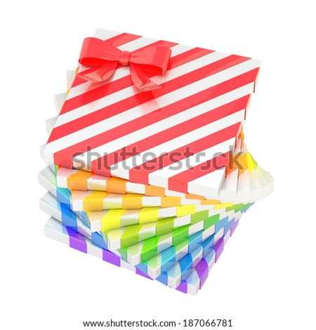 Twisted pile of the rainbow colored colorful gift boxes with a bow decoration, isolated over the white background - stock photo