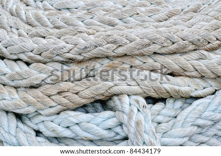 Twisted rope. Equipment on board sailing ship - stock photo