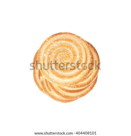 Twisted stack of round cookies with the pieces of chocolate isolated over the white background - stock photo