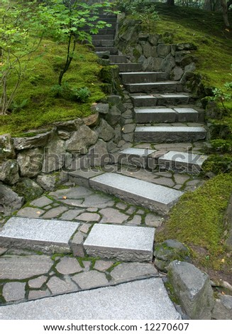 Twisted Stairway in the Portland Japanese Garden - stock photo