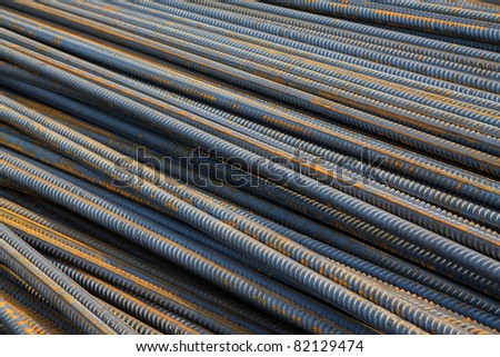 twisted steel construction materials in a construction site