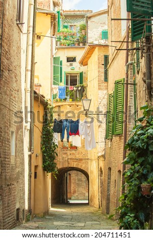 Twisted streets of Siena, Tuscany, Italy - stock photo