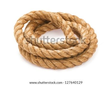 Twisted thick rope on white - stock photo