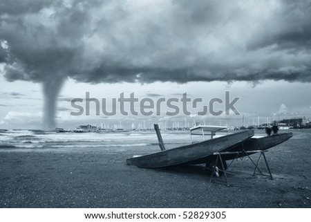 twister incoming from the sea - stock photo