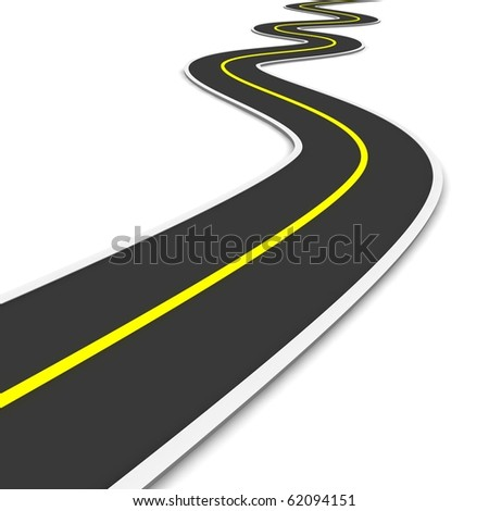 Twisty road. 3d rendered illustration. - stock photo