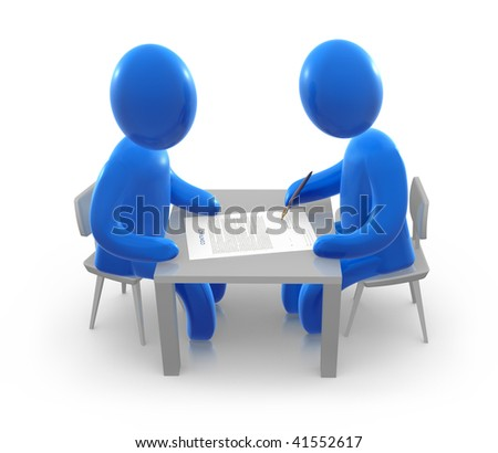 Two abstract blue men are sitting behind the table and signing the contract.