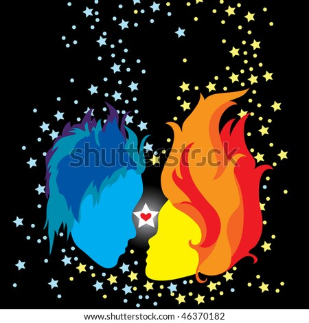 Two abstract faces in love on color background