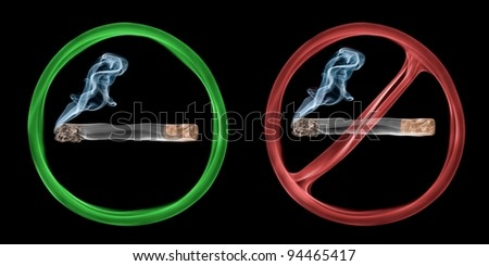 "Two abstract smoke signs signalling ""smoking allowed"" and ""smoking forbidden"". - stock photo"