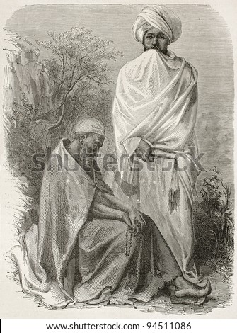 Two Abyssinian monks old engraved portraits. Created by Bayard after Lejean, published on Le Tour du Monde, Paris, 1867