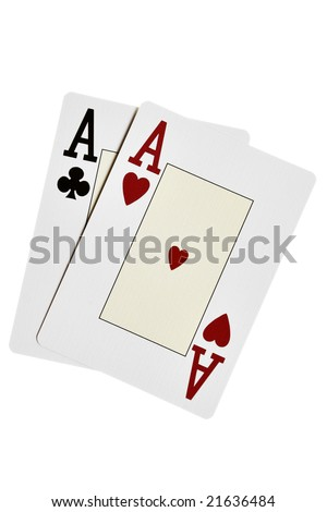Two aces close-up isolated over white background