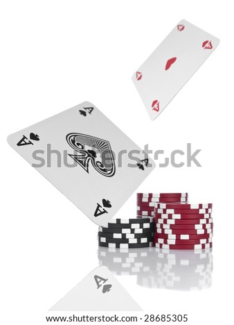 Two aces flying over piles of gambling chips. Isolated on white. - stock photo
