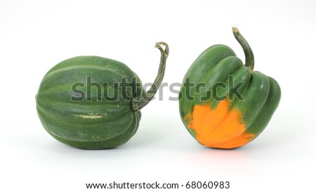 Two acorn squash arranged on a white background.