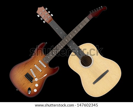two acoustic and electric guitars isolated on black background  - stock photo