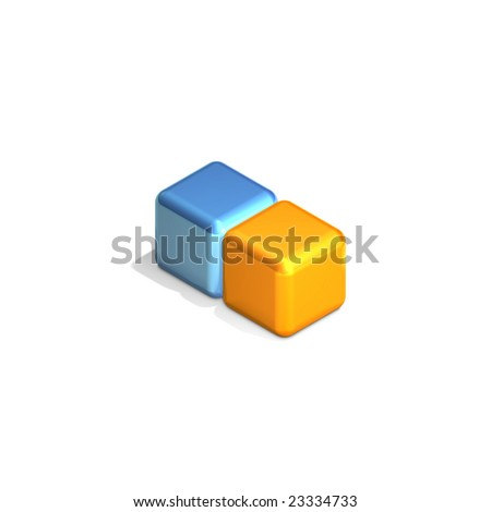 Two Adjacent Cubes in Three Dimensional Isometric Perspective (jpeg file has clipping path)