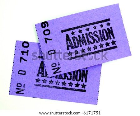 two admission tickets for cinema or other event