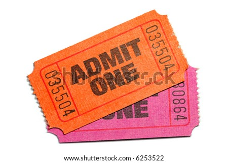 Two Admit One Ticket isolated on pure white background - stock photo