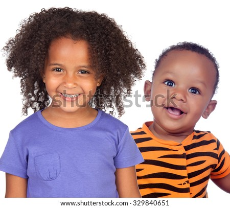 Two adorable african children smiling isolated on a white background