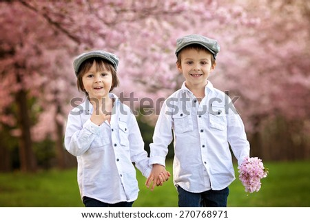 Two adorable caucasian boys in a blooming cherry tree garden, spring afternoon, double portrait, kids walking and smiling towards the camera - stock photo