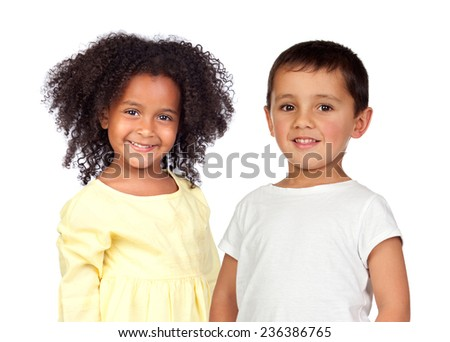 Two adorable children isolated on a white background - stock photo