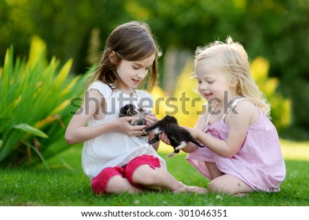 Two adorable little sisters playing with small newborn kittens on beautiful sunny summer day outdoors - stock photo