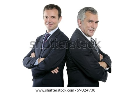 two adult businessman posing back together team portrait