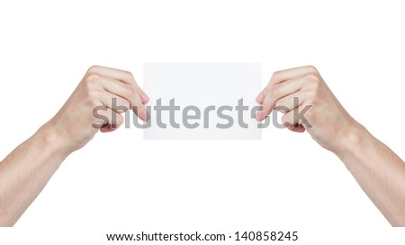 two adult man hands holding blank paper sheet, isolated on white - stock photo