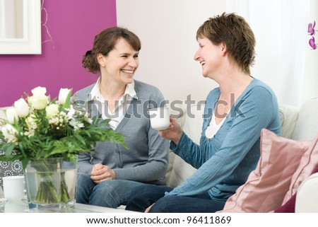Two adult woman sitting at home - stock photo
