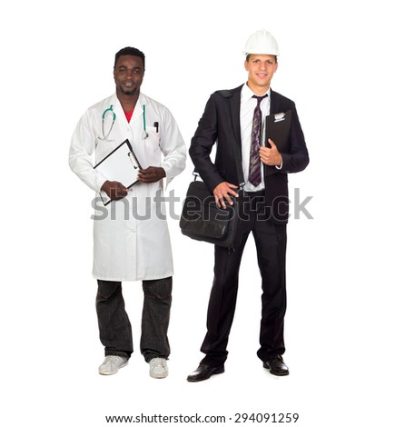 Two adult workers. African American doctor and Caucasian architect isolated on white background