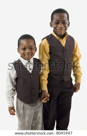 Two African american brothers posing for a picture. - stock photo