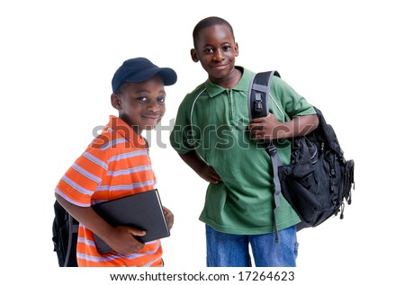 Two african american brothers ready for school. - stock photo