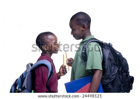 Two african american brothers ready for school - stock photo