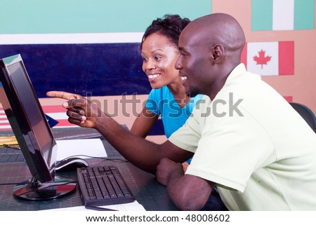 two african american students studying white Blong, - stock photo